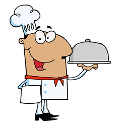Hispanic Male Chef Serving Food vector image