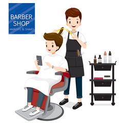 Relaxing man in barber shop vector