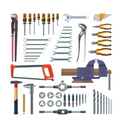 set of working tools in flat style Design vector image vector image