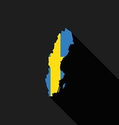 Sweden flag map flat design vector image