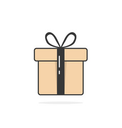 gift icon with black string and shadow vector image