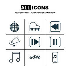 set of 9 audio icons includes octave audio vector image vector image