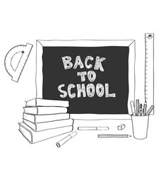 Back to school handdrawing black white vector