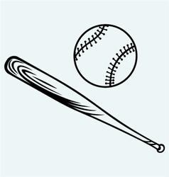 Baseball and baseball bat vector image vector image