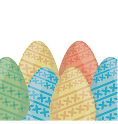 collection colored easter eggs ornament vector image