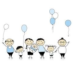 Happy birthday big family children newborn baby vector image