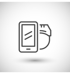 Mobile virtual reality line icon vector