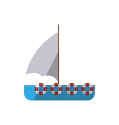 ship sail travel maritime shadow vector image