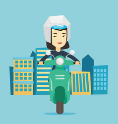 woman riding scooter in the city vector image vector image