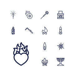 13 flame icons vector