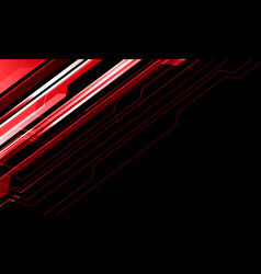Abstract red metallic line cyber on black vector