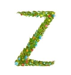 Alphabet letter Z elegant flower blooming vector image