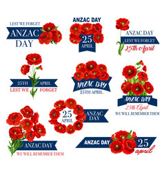 Anzac day icon of poppy flower and memorial ribbon vector