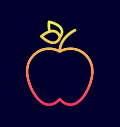 apple icon in flat line style vector image