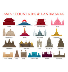 Asia countries landmarks colorful silhouette vector