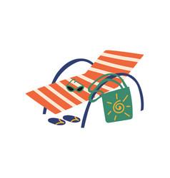 beach chaise longue summer travel symbol vector image