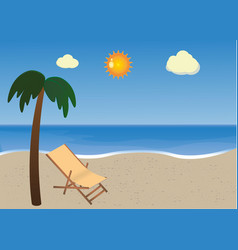 Beach with palm and sunbed vector
