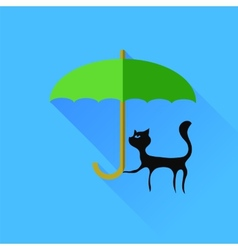Black cat and green umbrella vector
