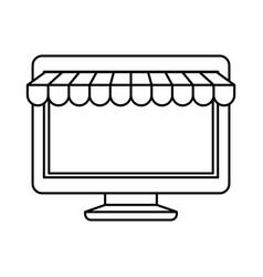 Black silhouette of desktop computer online store vector