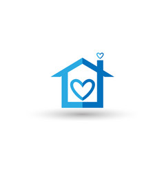 blue home with heart symbol vector image