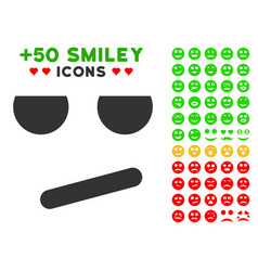 Bored smile icon with bonus mood collection vector