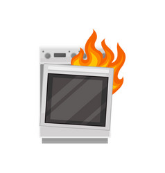 Broken stove with burning fire damaged home vector