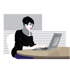 business woman is working on the laptop computer vector image
