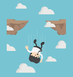 businessman falling down from cliff or high vector image