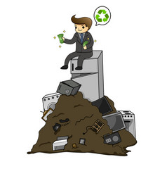 businessman get rich from waste electrical vector image