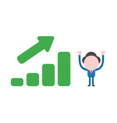 businessman with sales bar chart moving up vector image