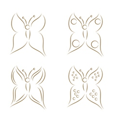 butterflies sketch vector image