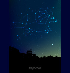 Capricorn zodiac constellations sign with forest vector
