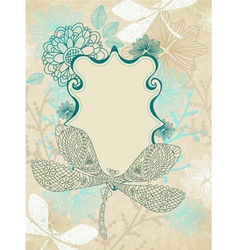 Card with dragonfly vector