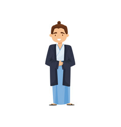 cheerful boy in japanese traditional clothes vector image