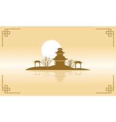 Chinese of pavilion scenery silhouette vector