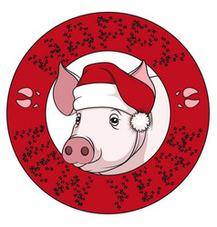 color drawing of a pig in a christmas cap vector image
