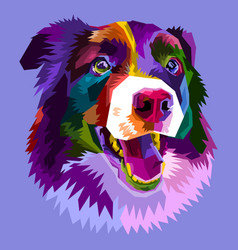 Colorful border collie dog isolated on pop art vector