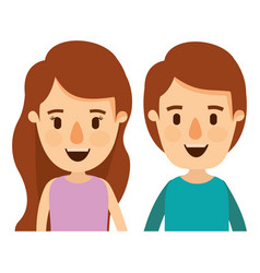 Colorful caricature front view half body couple vector