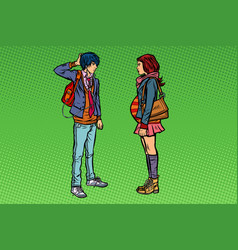 confused young man and pregnant girl teenage sex vector image