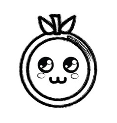 Contour kawaii cute thinking orange fruit vector
