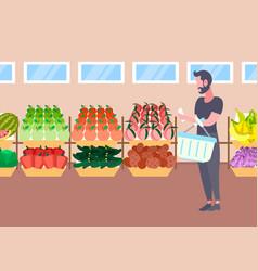 customer man with basket buying fresh organic vector image