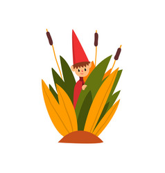 cute little boy in a pointed hat standing in tall vector image