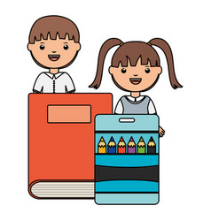 cute little students couple with book and colors vector image