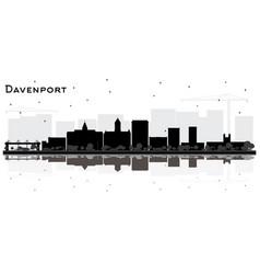 Davenport iowa city skyline silhouette with black vector