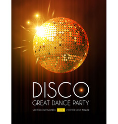 disco party flyer template with mirror ball stage vector image
