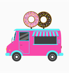 donut truck fast food bakery van with signboard vector image