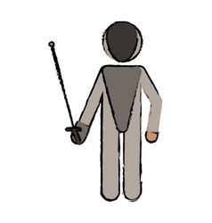 drawing fencing player sport athlete vector image