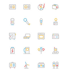Electronics and Devices Colored Outline Icons 6 vector image
