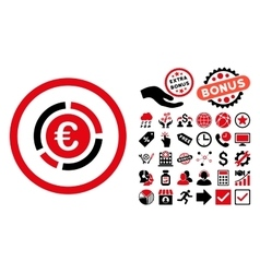 Euro Financial Diagram Flat Icon with Bonus vector image
