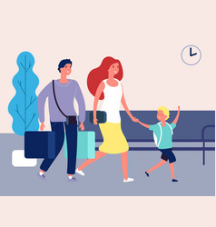 Family vacations people in airport bus train vector